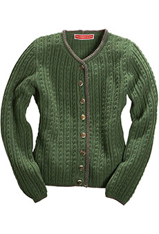 Strickjacke Lambswool, grün