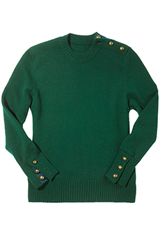Sweater with shoulder buttons, green