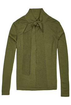 Sweater with bow, olive