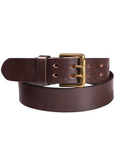 Leather belt double thorn, brown