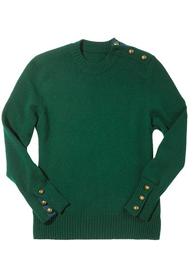 Pullover mit Schulterknöpfen, tanne